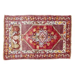 Vintage Turkish Rug, Berry & Mint  - 2′2″ × 4′2″