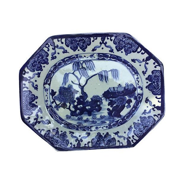 Blue & White Chinese Willow Platter - Image 1 of 4