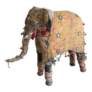 Vintage Rajasthan Embroidered Stuffed Indian Elephant