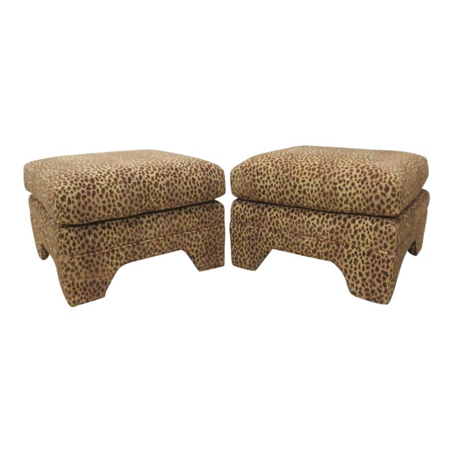 Leopard Upholstered Ottomans - A Pair - Image 1 of 5
