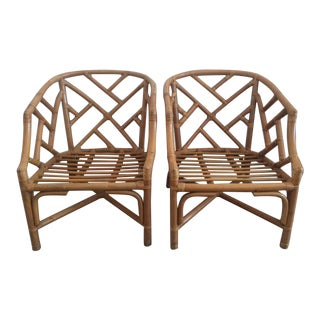 Vintage Rattan Chippendale Barrel Chairs - A Pair