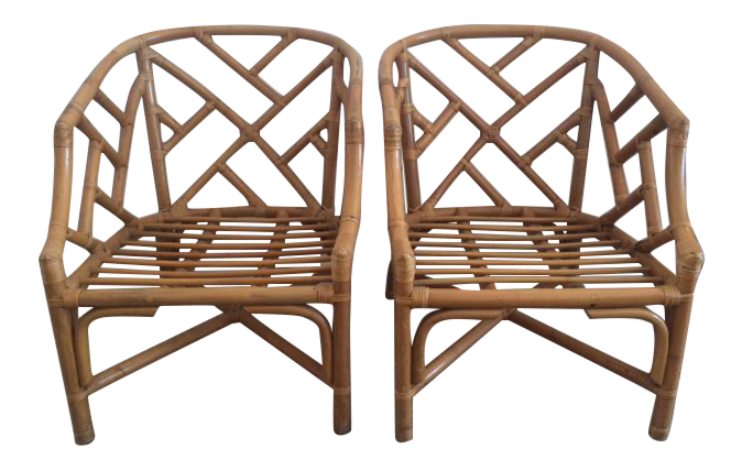vintage rattan chippendale barrel chairs a pair