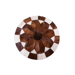 Handmade Cowhide Patchwork Area Round Rug - 5'10""