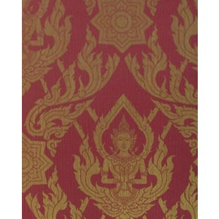 Thai Buddha Textured Decorative Red Wallpaper