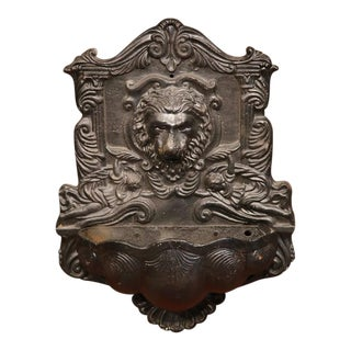 19th Century French Napoleon III Carved Iron Wall Fountain