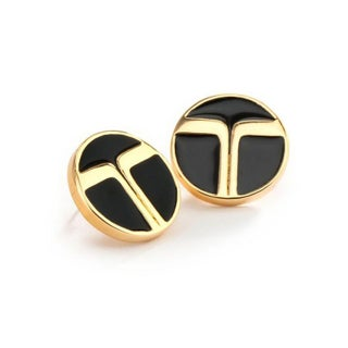 Trina Turk Gold and Black Enamel Earrings
