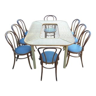 Bentwood & Rattan Dining Table with Chairs - Set of 9