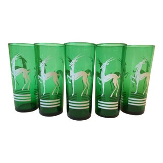 Vintage Emerald Green Ibex Cocktail Glasses