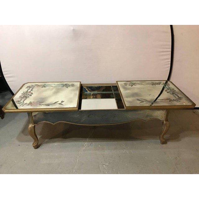 Hollywood Regency Italian Paint Decorated Sliding Mirror Top Coffee Low Table - Image 6 of 10