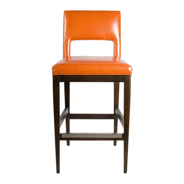Kravet Berlin Bar Stool In Orange Chairish