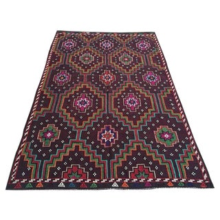 "Vintage Handwoven Turkish Kilim Rug - 6'1"" x 8'9"""