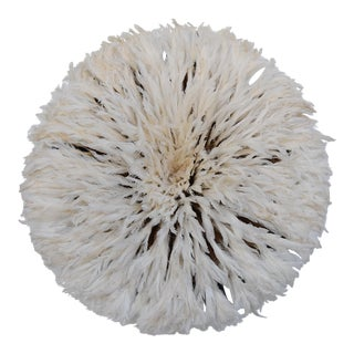 "Boho Chic Large 30"" Ivory White African Feather Juju Wall Hanging"
