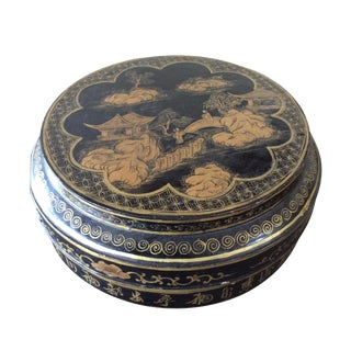 Antique Chinoiserie Black Lidded Box