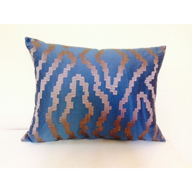 Blue Silk Abstract Pillow - Image 2 of 4