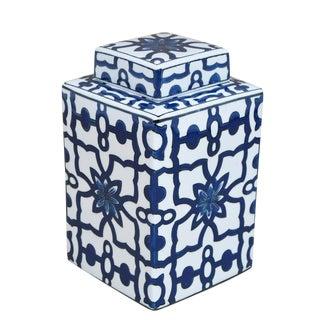 Sarried Ltd White & Blue Lidded Jar