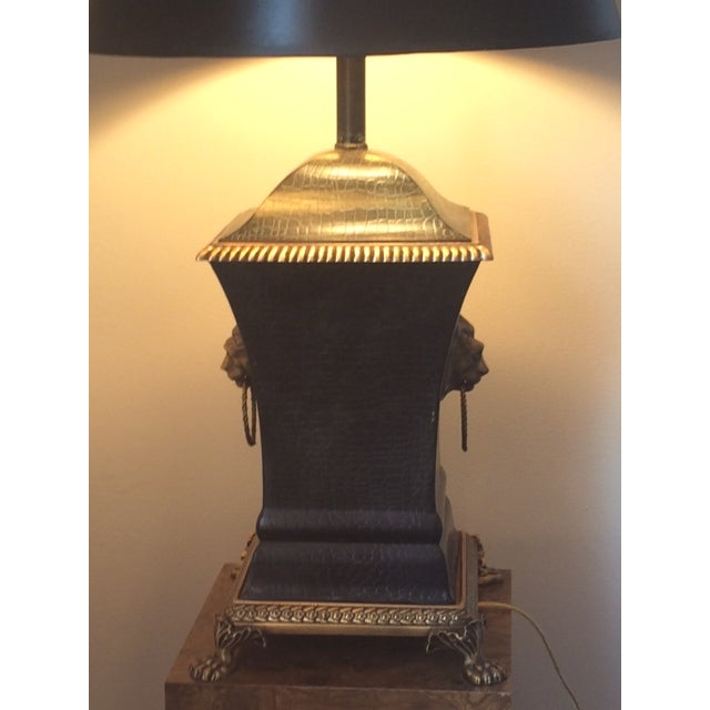Bronze Decorator Library Lamp With Lion Heads - Image 5 of 5