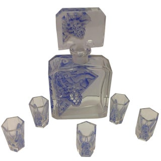 6-Piece Art DeCo Crystal Cordial Decanter Set