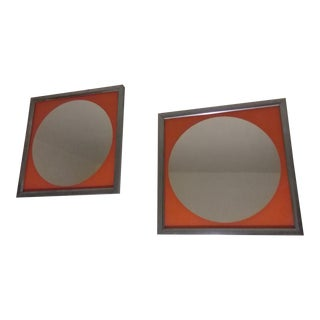 Mid-Century Modern Orange Mirrors - A Pair