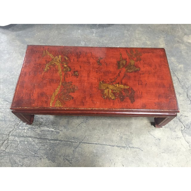 Image of Mid-Century Red Lacquer Chinese Style Coffee Table