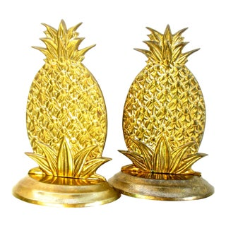 Vintage Hollywood Regency Brass Pineapple Bookends - A Pair