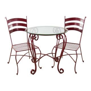 Dark Red Painted Wrought Iron Bistro Table & Chairs - Set of 3
