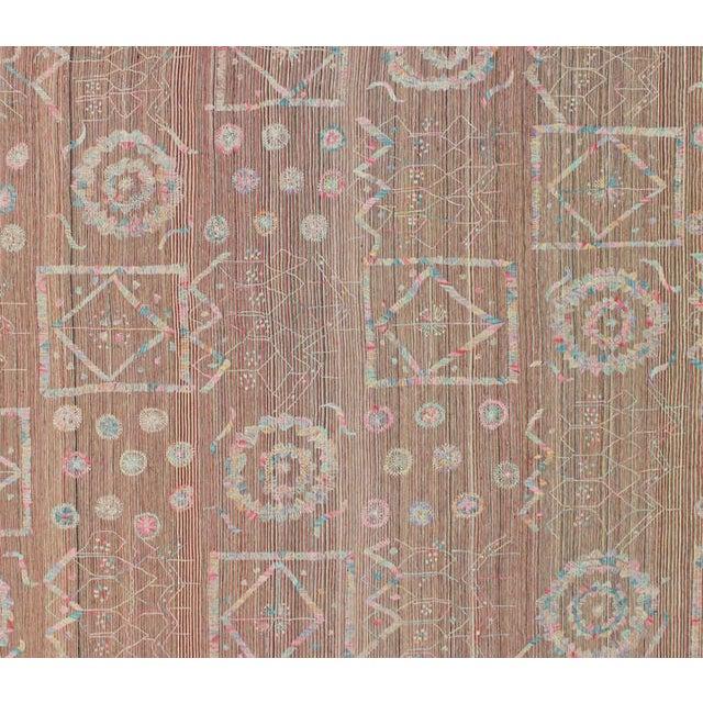 Boho Chic Vintage Embroidered Suzani Kilim Rug In Soft