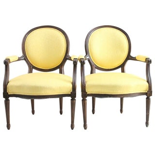 Yellow Louis XVI French Armchairs - A Pair