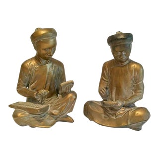 Vintage Gold Chalkware Asian Philosopher Bookends - A Pair