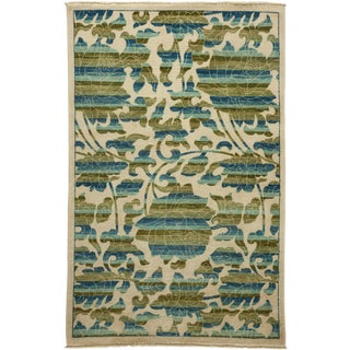 "New Arts & Crafts Hand Knotted Area Rug - 4'2"" x 6'5"""