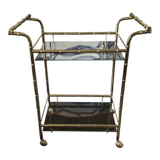 Hollywood Regency Brass Faux Bamboo & Glass Rolling Bar Cart