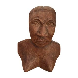 Vintage Hand Carved Female Bust Wood Sculpture