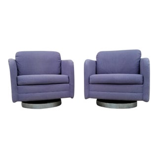 Vintage Lilac Swivel Club Chairs - A Pair