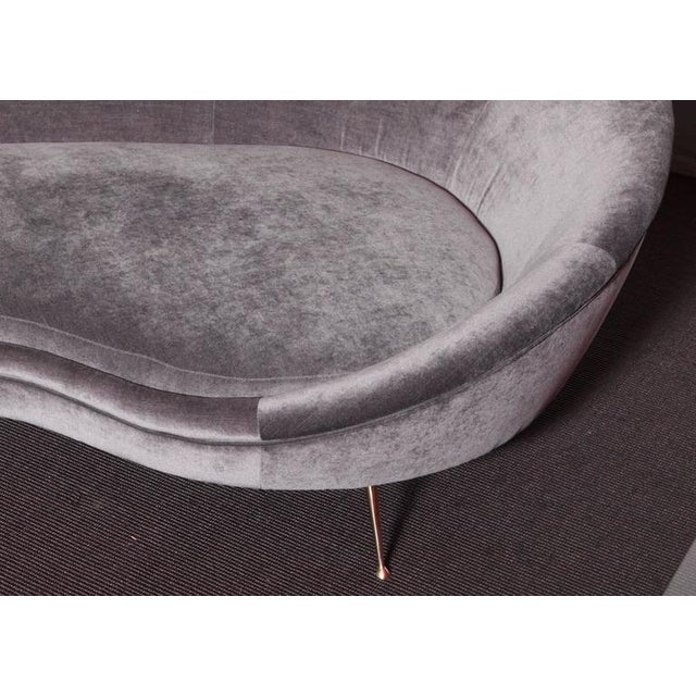 Huge Italian Velvet Sofa in the Manner of Ico Parisi - Image 3 of 7