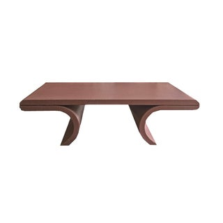 Karl Springer Style Grasscloth Coffee Table