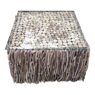 Driftwood & Glass Top Coffee Table