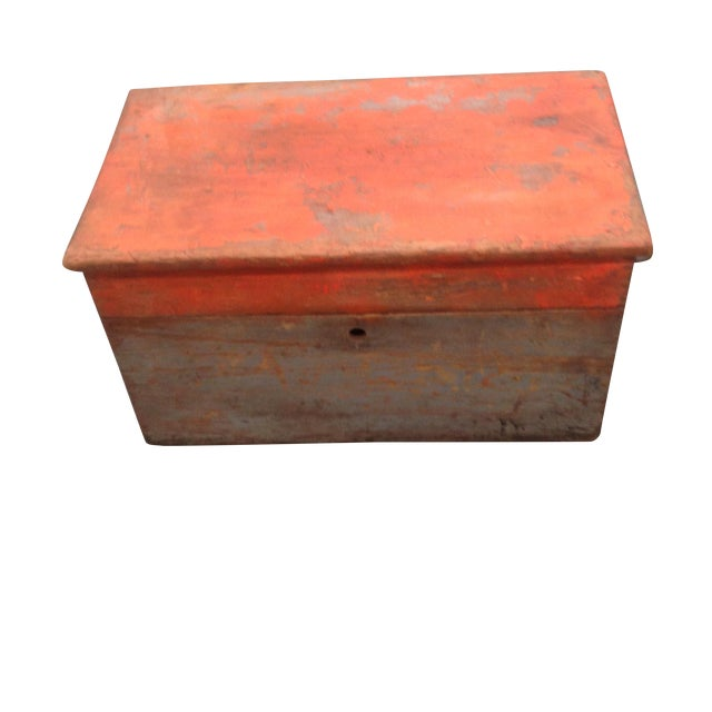 Rustic Antique Orange Wash Carpenter's Box - Image 1 of 5