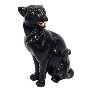 Vintage Black Ceramic Panther