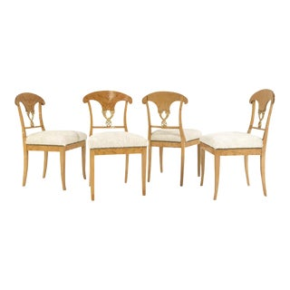 Forsyth One of a Kind Circa 1820 Satin Birch Biedermeier Chairs in Brazilian Cowhide - Set of 4