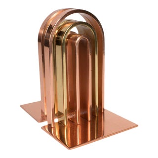 Art Deco Streamlined Walter Von Nessen for Chase Bookends in Copper and Brass