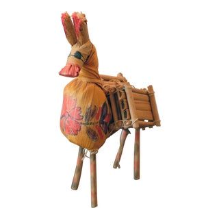 Vintage Mexican Hand Painted Corn Husk Donkey Figurine