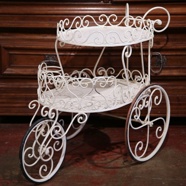 Early 20th Century French Painted Iron Two-Tier Bar Cart on Wheels for Patio - Image 6 of 8
