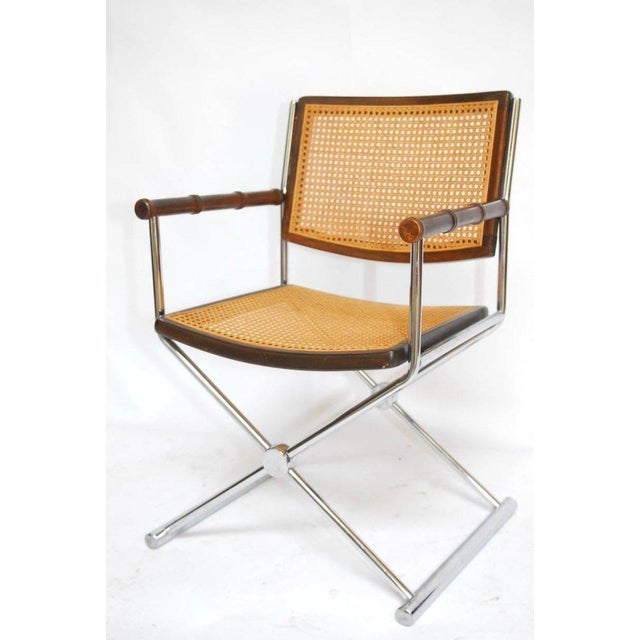 Mid-Century Chrome and Caned Director Chairs - A Pair - Image 5 of 8