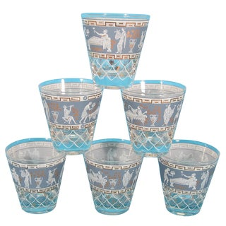 Cera Lowball Glasses With Greek Scenes - Set of 6