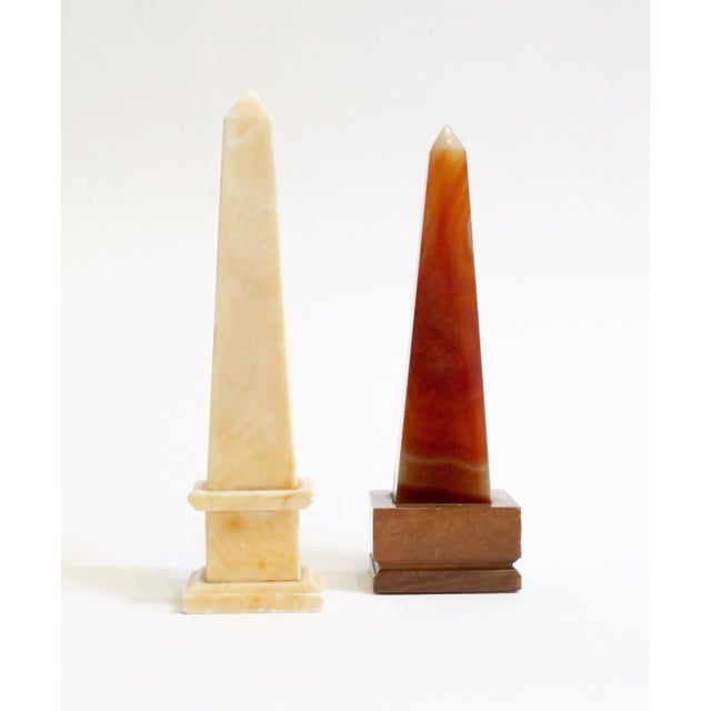 Image of Marbled Stone Obelisks- A Pair