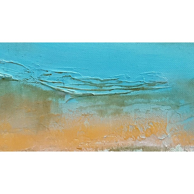 Abstract Modern Textured Metallic Gold & Turquoise Painting on Canvas - Image 2 of 4