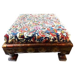 Indian Ottoman With Kirman Savonnerie Rug