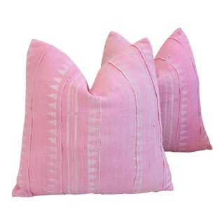 Pastel Pink & White Mud Cloth/Velvet Feather & Down Pillows - a Pair
