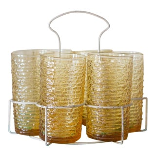 Gold Party Glasses & Carrier - Set of 6