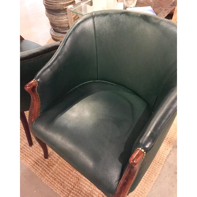Green Barrel Chairs, Nail Head Trim - Pair - Image 6 of 9