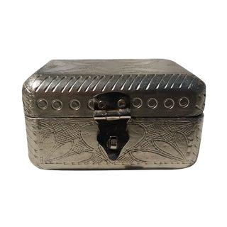 Vintage Metal Covered Wooden Box